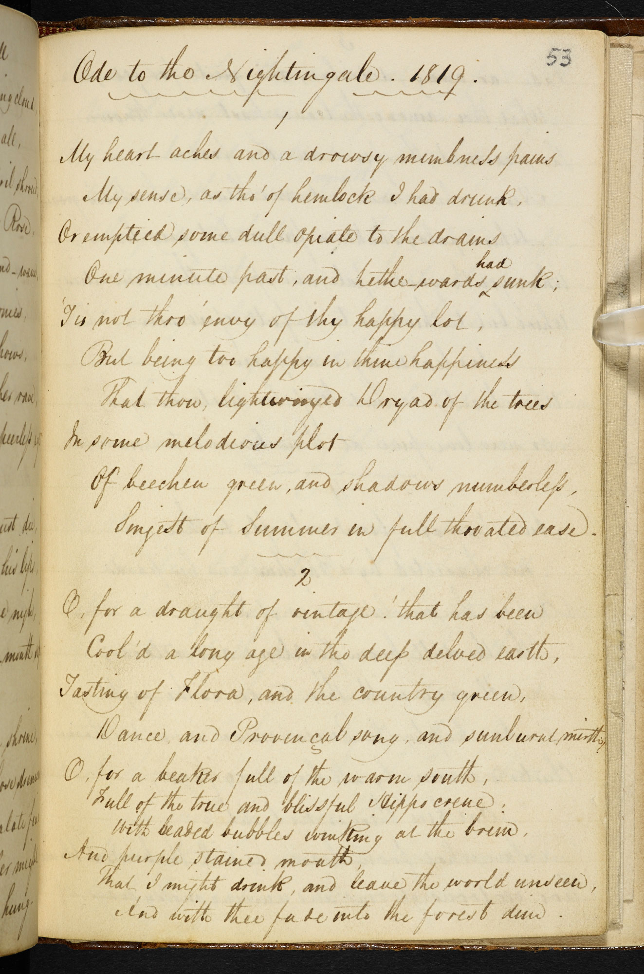 Manuscript of 'Ode to a Nightingale' by John Keats