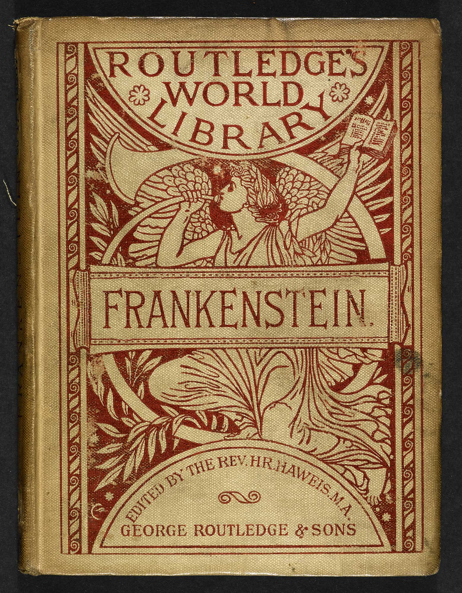 1886 edition of Frakenstein by Mary Shelley [page: front cover]