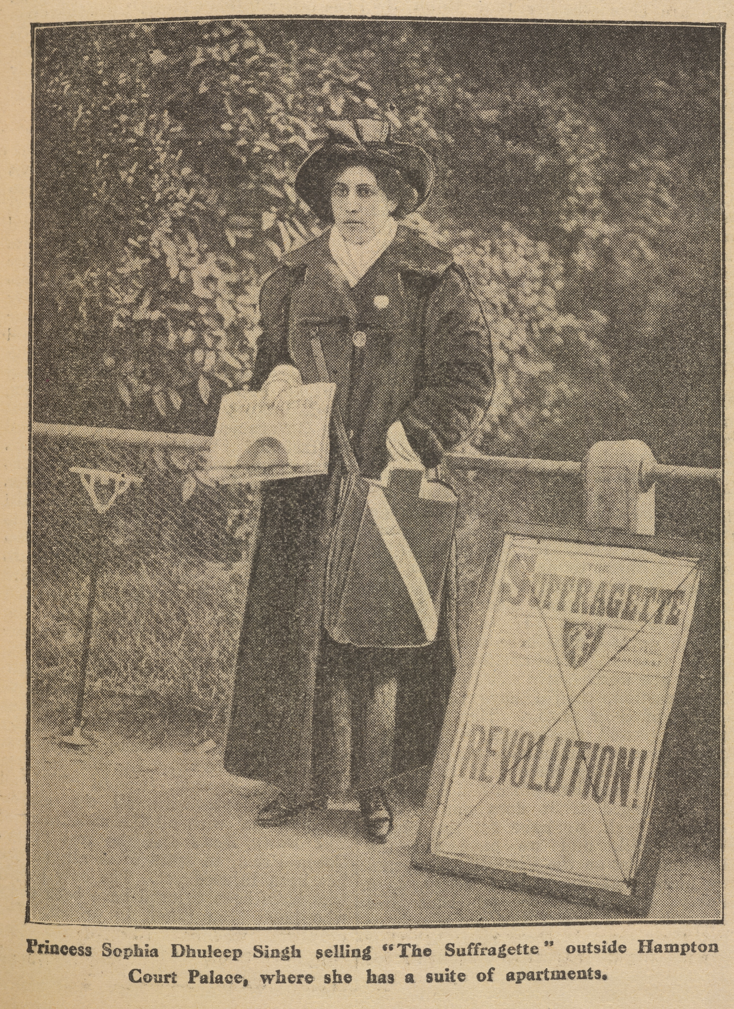 Sophia Duleep Singh (The Suffragette, 18 April 1913). This photograph shows Princess Sophia selling The Suffragette newspaper outside Hampton Court Palace, where she lived in an apartment. Image credit: Courtesy of the British Library Board