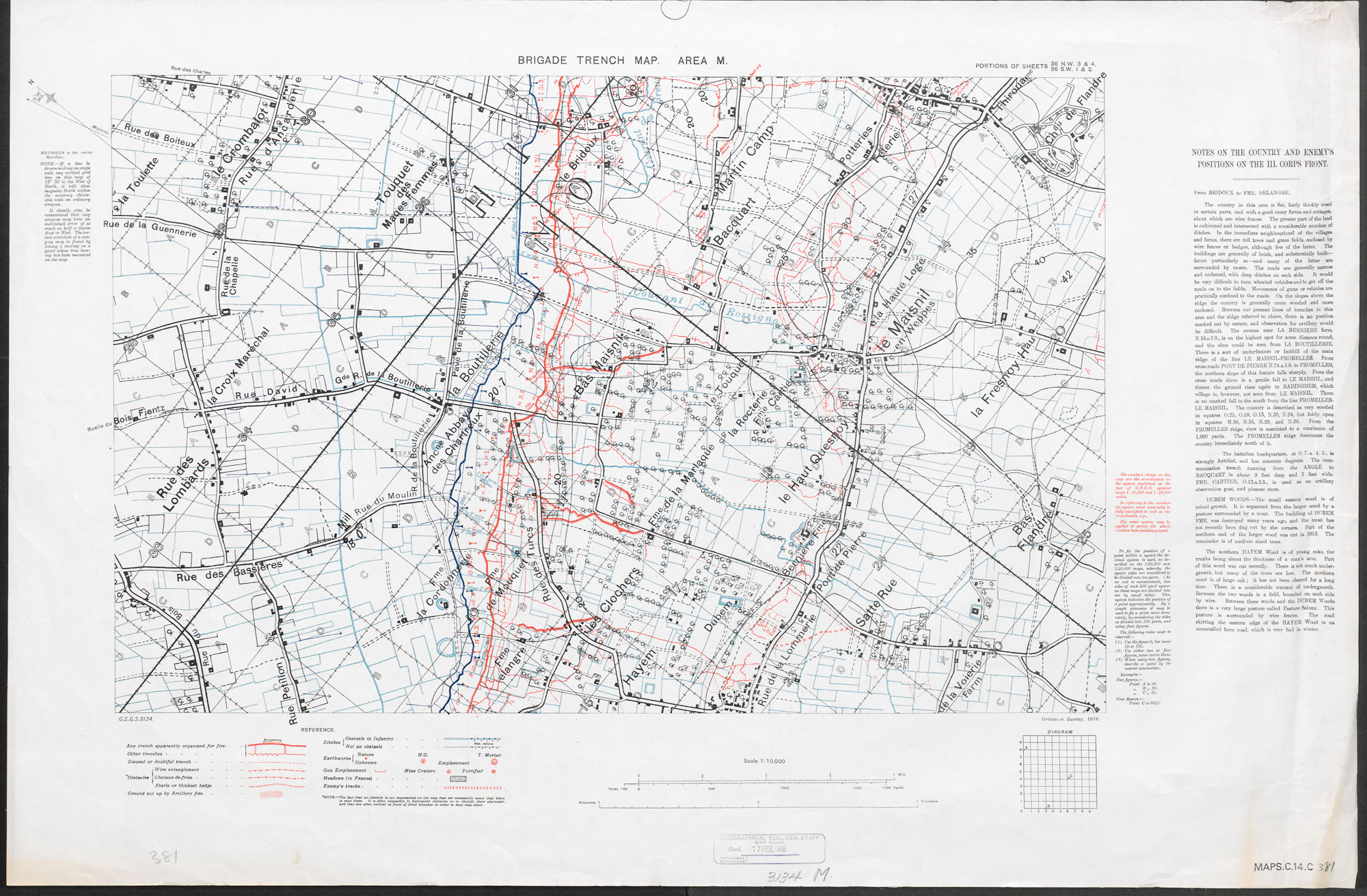 A detailed trench map covering the area south of Loos in 1916. The German trenches are in red, the British – distorted, in case the map was captured – in blue.