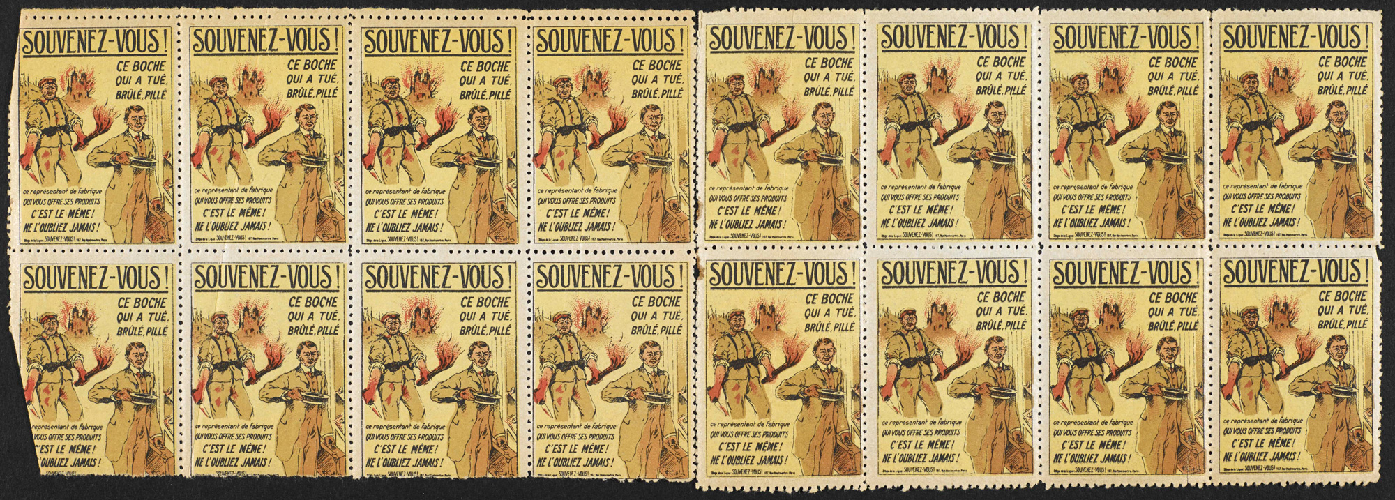 Stamps from a set produced by the French league Souvenez-vous (French for 'remember'), which aimed to perpetuate the memory of German crimes after the war.