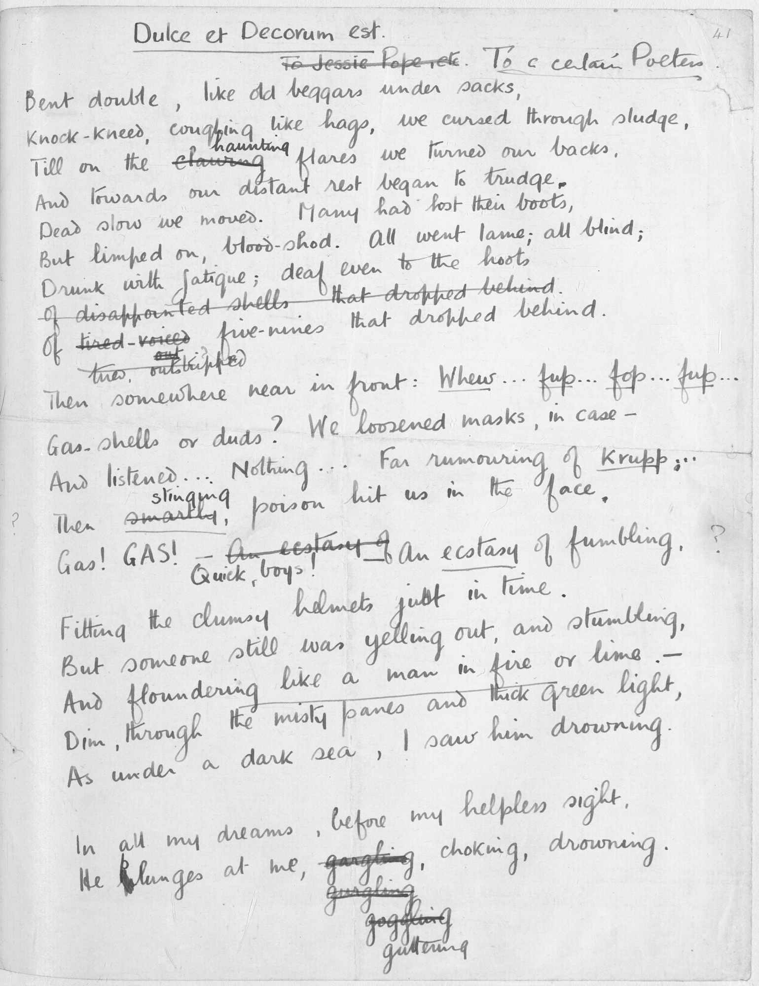 dulce et decorum est using marxist theory - the poem 'dulce et decorum est' by wilfred owen portrays the horrors of world war i with the horrific imagery and the startling use of words he uses he .