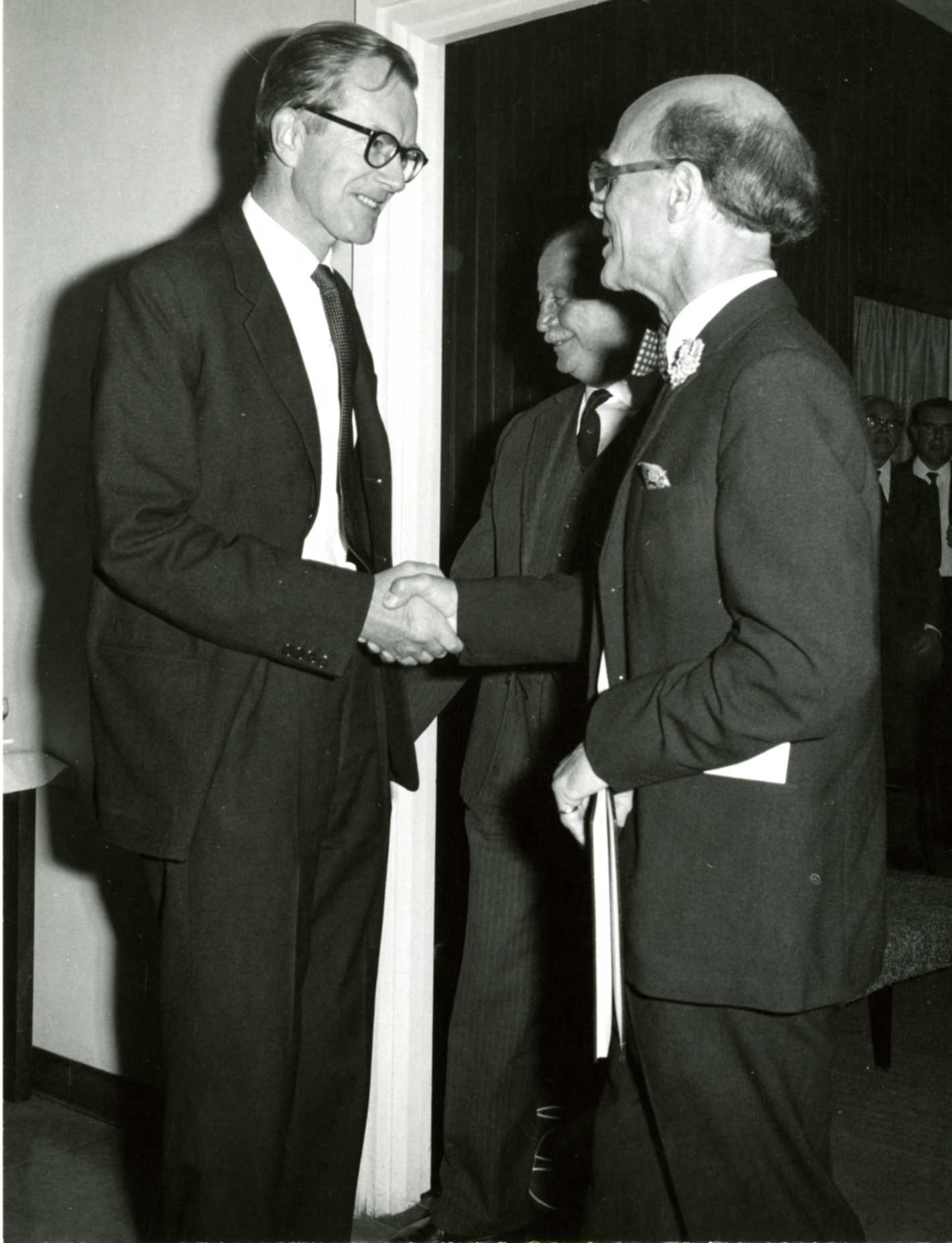 Maurice Wilkins with J.T. Randall at Randall's retirement party, 1970