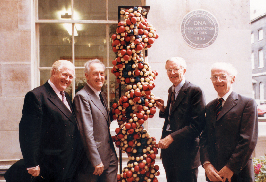 Wilkins (second from left) at the 1993 unveiling of the DNA 40th Anniversary plaque at King's College London, 1993
