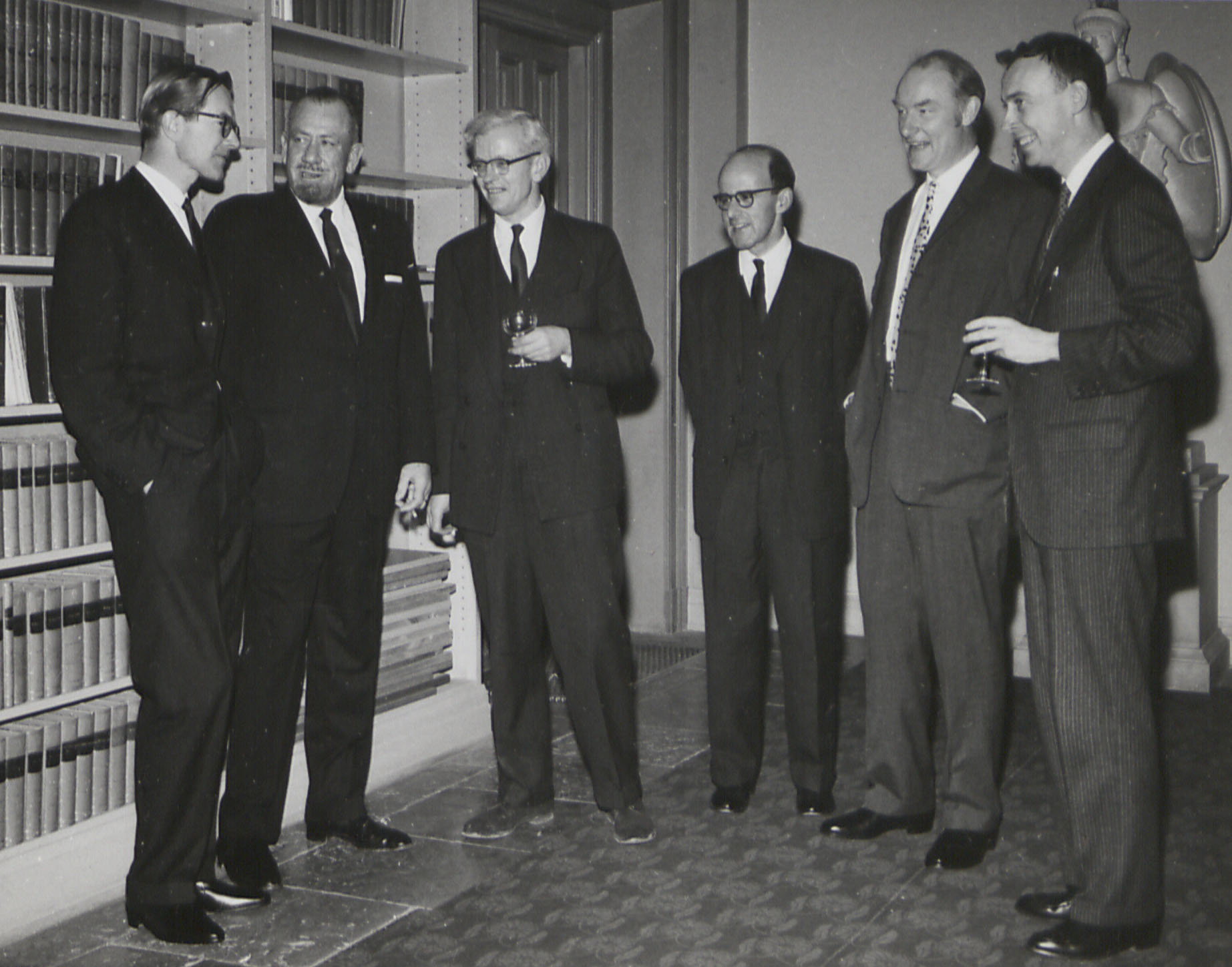 Nobel Prize winners of 1962 (Maurice Wilkins, John Steinbeck, John Kendrew, Max Perutz, Francis Crick and Jim Watson)