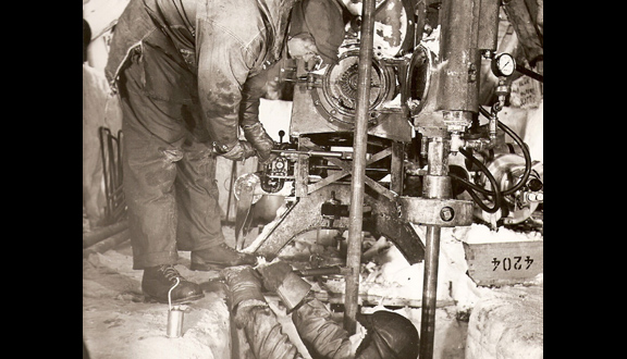 Drilling ice cores in Antarctica, early 1950s