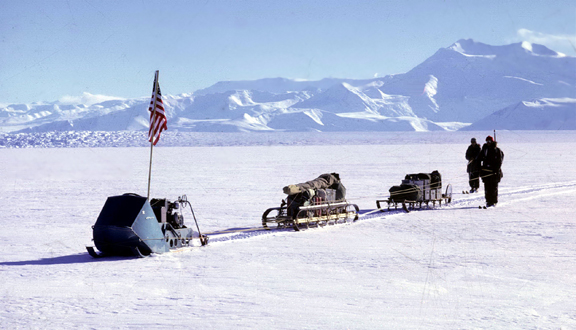 Remote-control driving to cross Beardmore Glacier in Antarctica relatively safely, November 1961