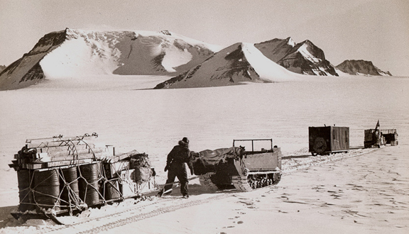 Measuring the depth of the ice at Dronning Maud Land, Antarctica, 1951