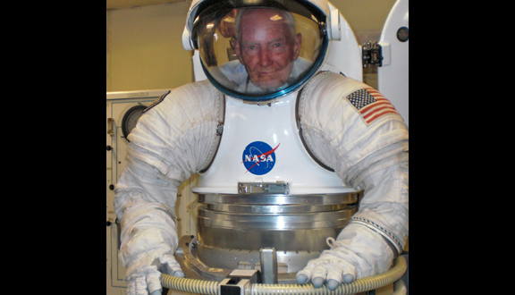 Charles Swithinbank in a NASA spacesuit, 2009