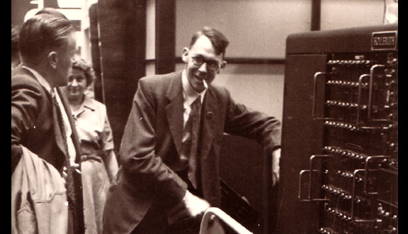 Ray Bird with HEC1 prototype at the Business Efficiency Exhibition, Olympia, London, 1951
