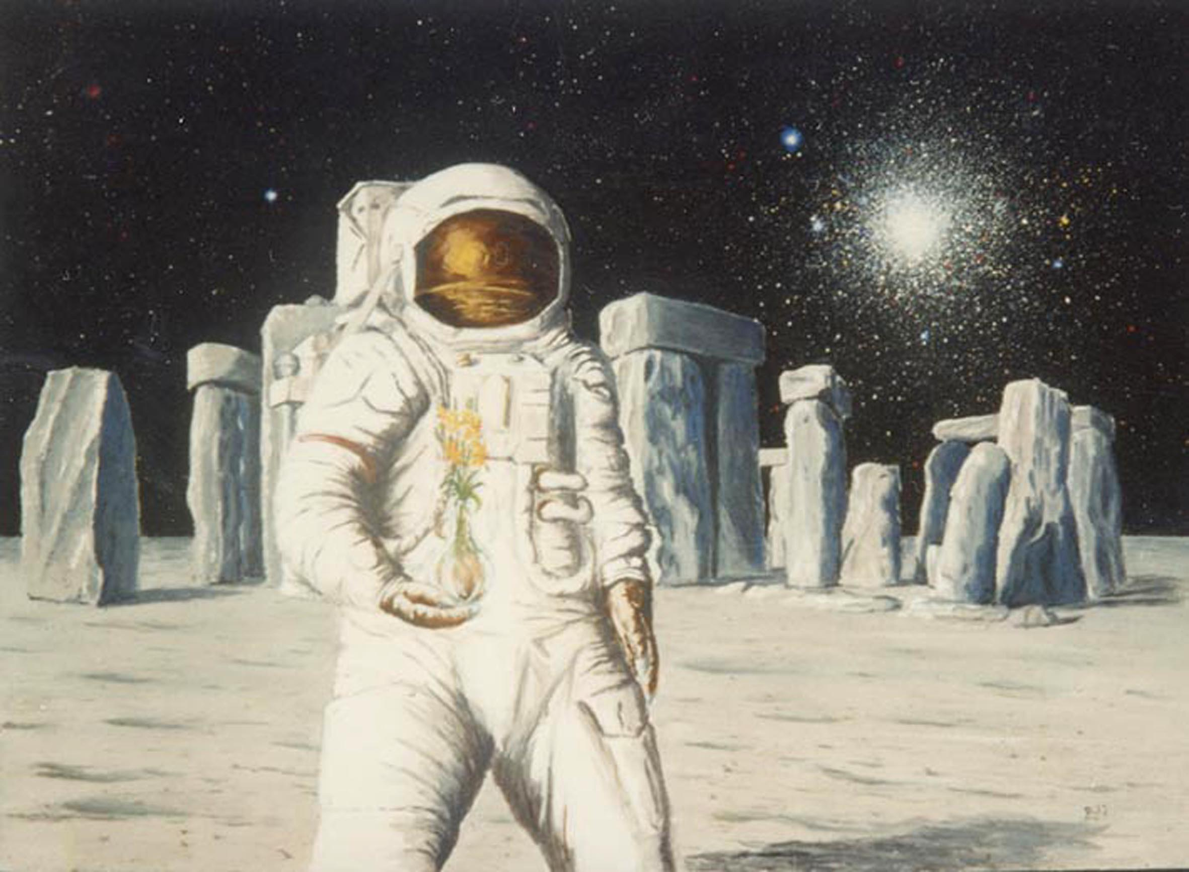 "Painting by Bob Parkinson,  entitled ""Space Age or Stone Age?"""