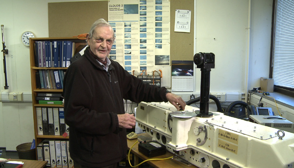 Joseph Farman with a Dobson Spectrometer at the British Antarctic Survey, Cambridge, 2011