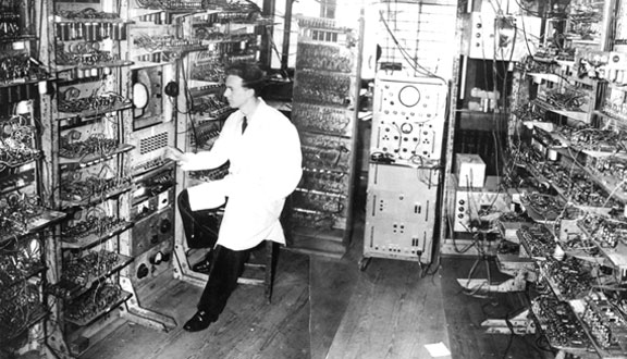 Dai Edwards with the expanded Manchester 'Baby' computer, June 1949