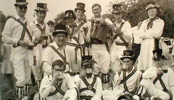 Roy Dommett, middle left, with fellow Morris dancers in Abingdon, early 1970s