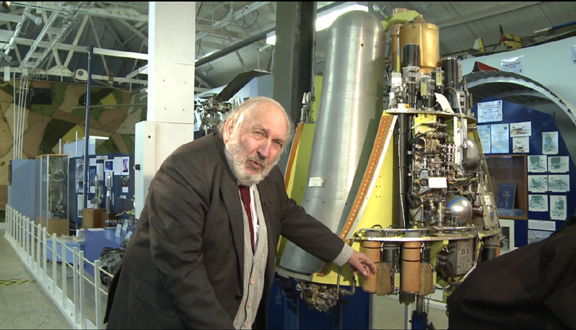 Roy Dommett at Farnborough Air Sciences Trust with the Chevaline missile bus, 2012
