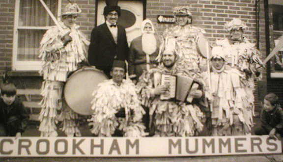 Roy Dommett on accordian with Crookham mummers