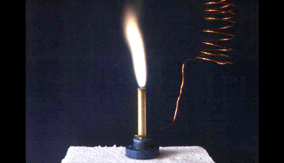 James Lovelock's electronic Bunsen burner shown on BBC programme Tomorrow's World
