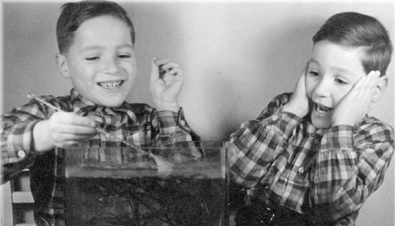 Frank Land and his twin brother Ralph, 1934