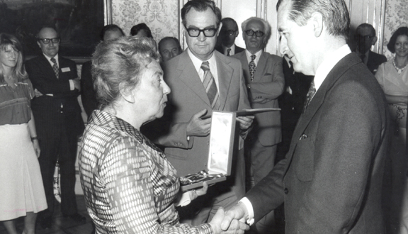 Roy Gibson receiving a decoration from the Austrian Minister of Science and Education, Vienna, 1980