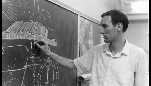 Fred Vine illustrating the Vine-Matthews hypothesis, 1968