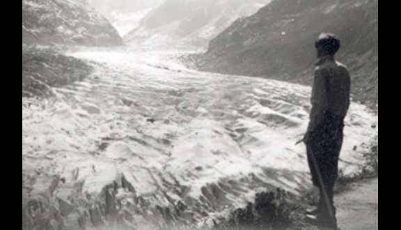 John Glen on the Mer de Glace in the Alps, 1950