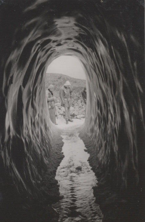 Tunnel through Vesl-Skautbreen glacier, Norway, 1951