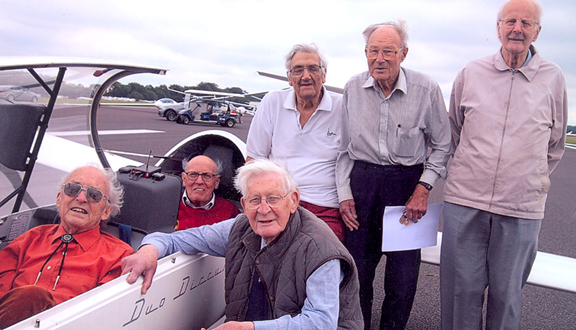Ralph Hooper and other 'forefathers' of the Surrey Gliding Club, 2011