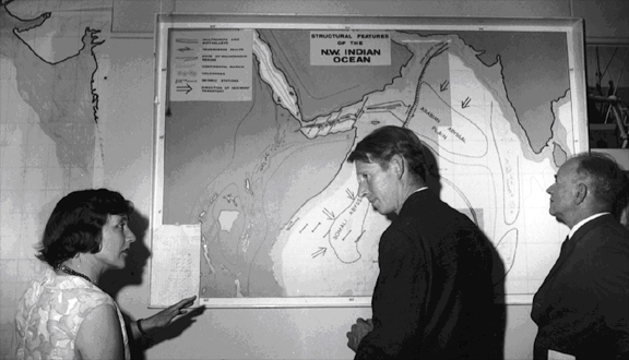 Anthony Laughton discussing the Indian Ocean with Shirley Williams, then Secretary of State for Education, mid 1960s