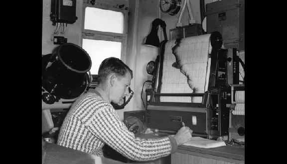 Anthony Laughton with the Precision Echosounder on Royal Research Ship Discovery