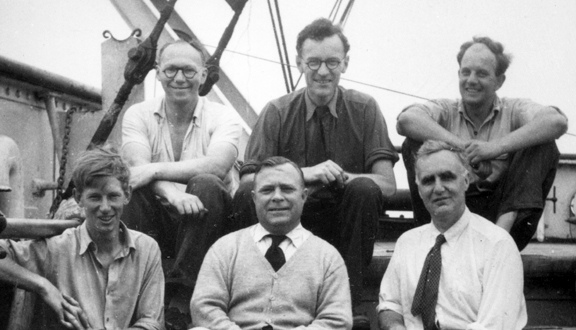Anthony Laughton with others on Royal Research Ship Discovery II, 1960s