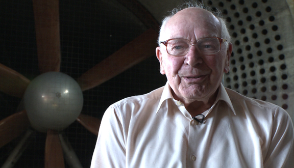 John Charnley in former RAE Farnborough wind tunnel, 2011