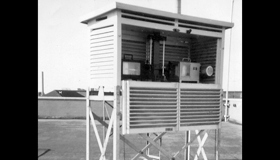 Stevenson Screen on the roof of the Meteorological Office, Harrow, 1952