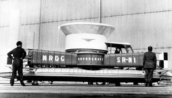 SRN1, the world's first amphibious hovercraft on its initial trials in 1959. Courtesy Ray Wheeler.