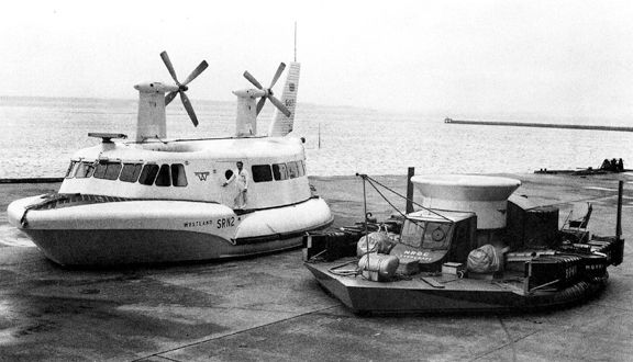 SRN1 mark IV and SRN2 on the slipway at East Cowes in 1961. Photo courtesy Ray Wheeler.