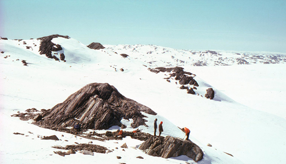 Stephen Moorbath and others collecting rock samples, Isua Mountain, Greenland