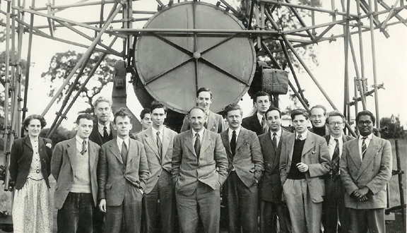Research team at Jodrell Bank Observatory in the 1950s. Bernard Lovell middle, Mary Almond left