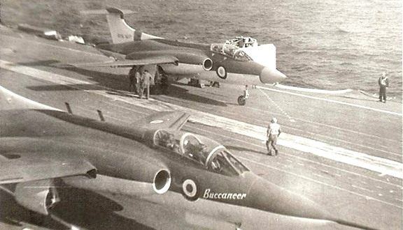 Blackburn Buccaneers of a type Dennis was involved in testing, aboard an aircraft carrier