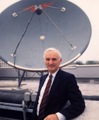 John Houghton on Met Office roof, 1991