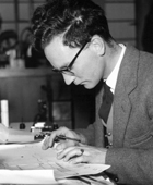 Norman Smith at his desk in the Admiralty Research Establishment, Teddington, late 1940s/early 1950s