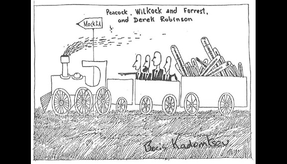 Cartoon by Boris Kodomtsev of Mike Forrest, Nichol Peacock, Peter Wilcock and Derek Robinson travelling to Moscow. The thermometers represents the laser scattering equipment they would use to test fusion plasma temperatures in the Soviet Tokamak