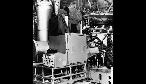 Culham's laser scattering equipment connected to the Tokamak T-3, Moscow, c.1969
