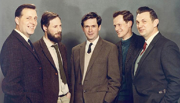 The British laser spectroscopy team to the USSR, c.1969 (l. to r.) Harry Jones, Nichol Peacock, Mike Forrest, Derek Robinson and Peter Wilcock