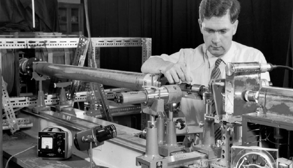 Mike Forrest with handmade laser c.1964