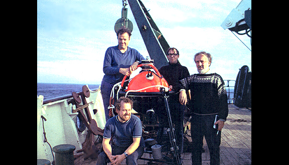 David Cartwright (right) with colleagues, RRS Discovery, Shetland, 1970s