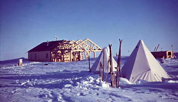 Building Halley Bay station, Antarctica, mid 1950s