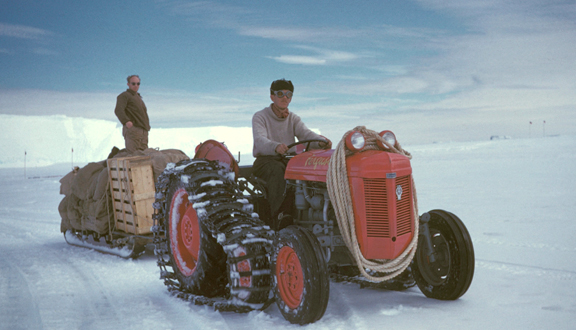 Moving supplies in Antarctica, mid 1950s