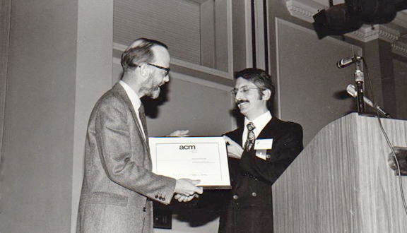 Tony Hoare receiving the Turing Award, 1980