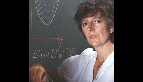 Julia Higgins in lab with thermodynamics on the blackboard, 1990