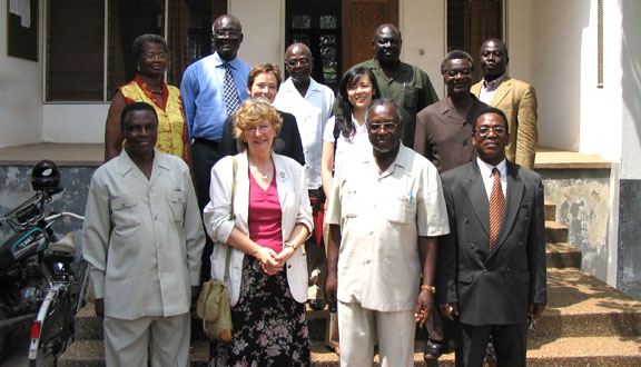 Julia Higgins as foreign secretary of the Royal Society visiting the Ghana Academy, 2002