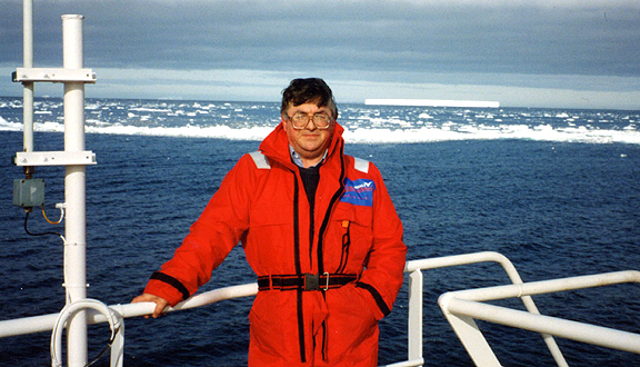 Bob Dickson on board Royal Research Ship Discovery cruise 200, February 1993